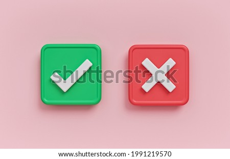 Yes and No, Right and Wrong, Approved and Declined concept. minimal sign, symbol. 3d rendering