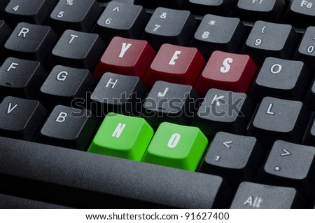 yes and no words on red and green keyboard button
