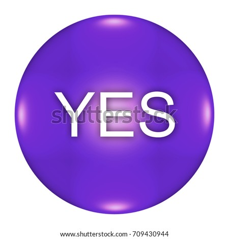 yes button isolated, 3d illustration