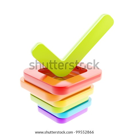 Yes done green tick over stack of  glossy rainbow colored check boxes isolated on white