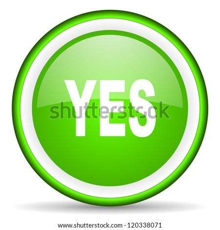 yes green glossy icon on white background