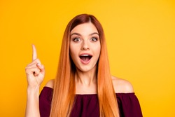 Yes! I knew it! Close up photo portrait of clever intelligent attractive charming lady with opened mouth looking in camera holding forefinger up isolated bright background