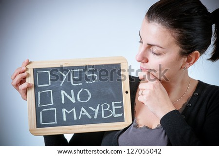 yes, no or maybe on a blackboard,Italy - stock photo