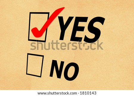 Yes No tickbox with paper background