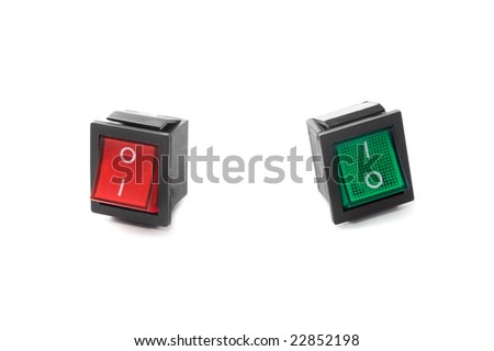 yes or no: red and green push buttons (switchers) in different positions