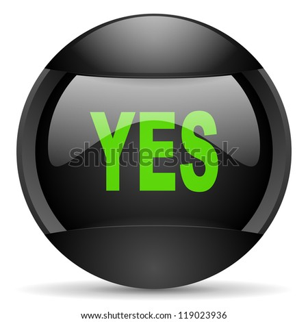 yes round black web icon on white background