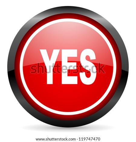 yes round red glossy icon on white background