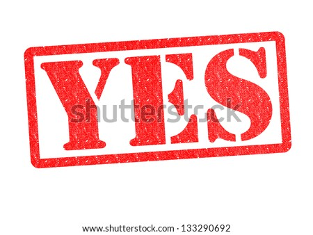 YES Rubber Stamp over a white background.