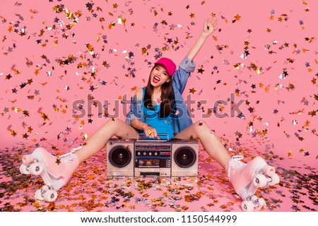 Yes yeah hooray weekend holiday dream dreamy people concept. Photo portrait of nice glad lovely rejoicing beautiful attractive lady sitting on floor screaming enjoying time isolated background #1150544999