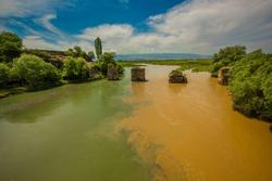 Yesilirmak river where turbid water and clear water meet