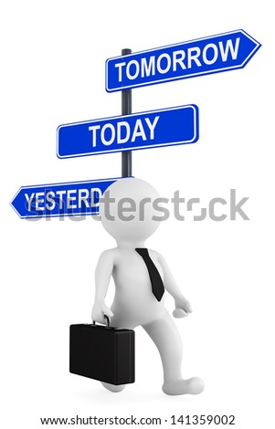 Yesterday Tomorrow Today traffic sign with 3d person on a white background