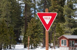 Yield Sign at Closed Campground
