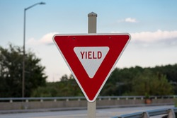 Yield Sign on Bridge in red instead of yellow
