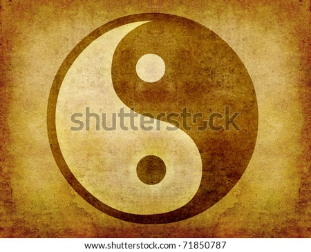 yin and yang symbol on old paper