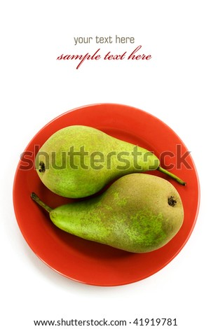 Yin and yang symbol - Two green pears on a red plate over white. With sample text