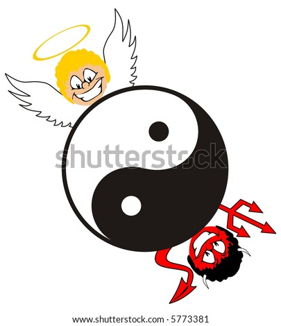 yin and yang symbol with angel and devil - stock photo