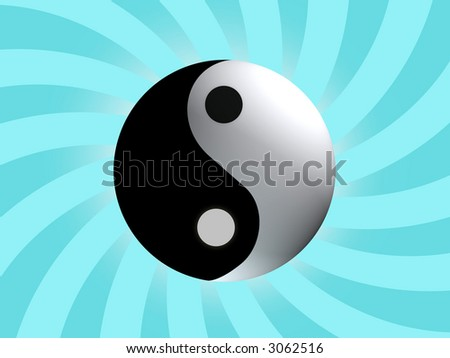 Yin Yang Balance with light blue rising background