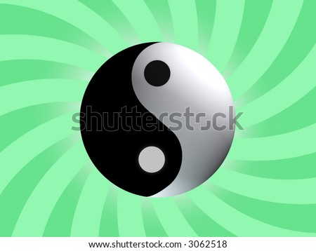 Yin Yang Balance with light  green rising background
