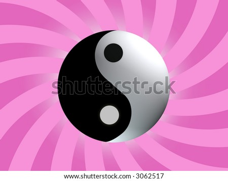 Yin Yang Balance with purple red rising background