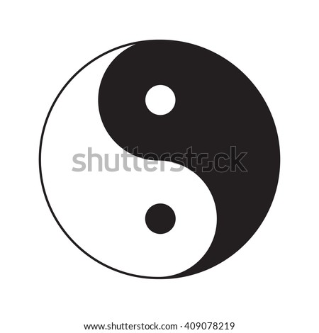 Yin Yang sign icon. White and black. Feng shui symbol. Isolated Flat design style.