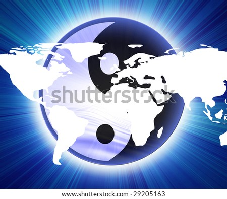 yin yang sign with map of the world