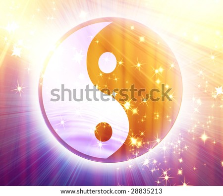 yin yang sign with some glitters and sparkles - stock photo