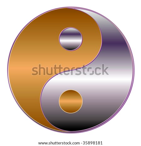 yin yang symbol in gold an violet