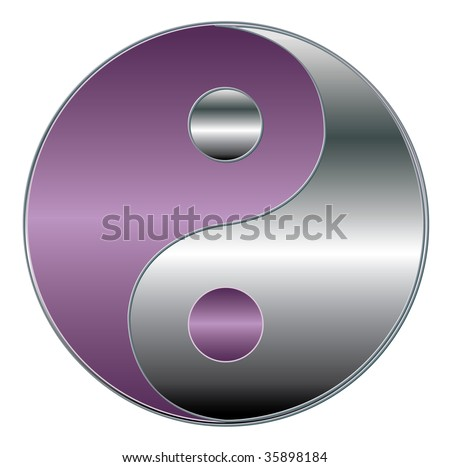 yin yang symbol in silver an violet