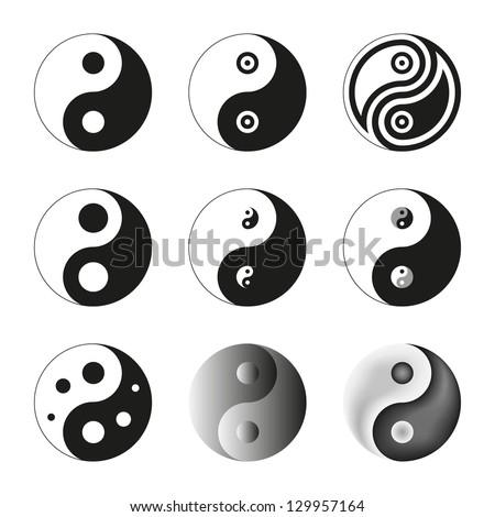 Yin Yang, Symbol Of Balance And Harmony. Set. Raster Version