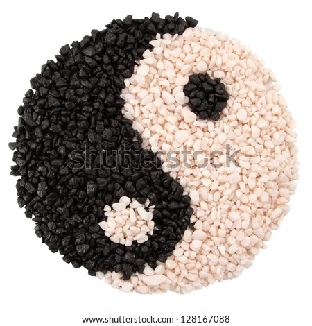 Yin-yang symbol of harmony and balance from little stones