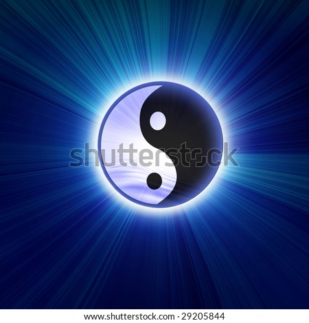 Yin yang symbol on a dark blue background