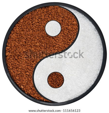 Ying Yang symbol of harmony and balance, background of instant coffee and sugar