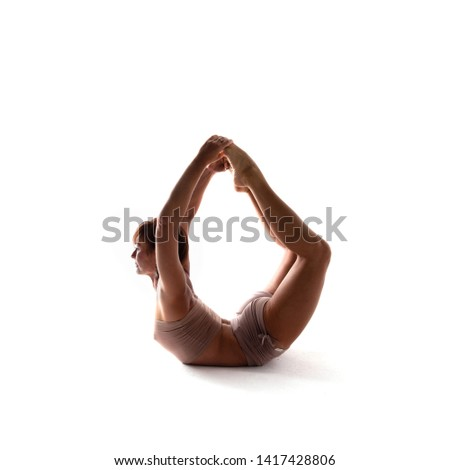 Yoga alphabet. The letter O formed by yogi body