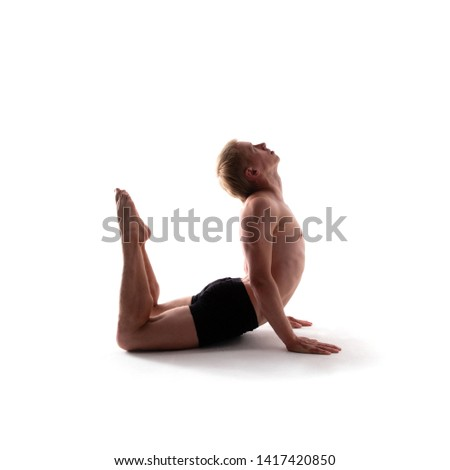 Yoga alphabet. The letter U formed by gymnast body
