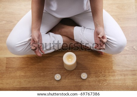 yoga and meditation of young woman in indoor
