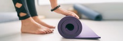 Yoga at home healthy fitness class fit woman rolling exercise mat in living room for morning meditation yoga active lifestyle banner.