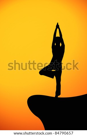 yoga at sunset, illustration