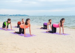 Yoga class at sea beach in evening sunset ,Group of people doing cat poses with clam relax emotion at beach,Meditation pose,Wellness and Healthy balance lifestyle