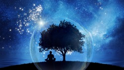 Yoga cosmic space meditation, silhouette of man practicing outdoors at night