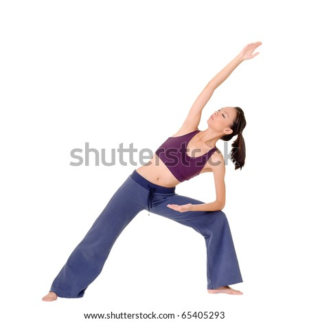 Yoga exercise by Asian beauty isolated over white.