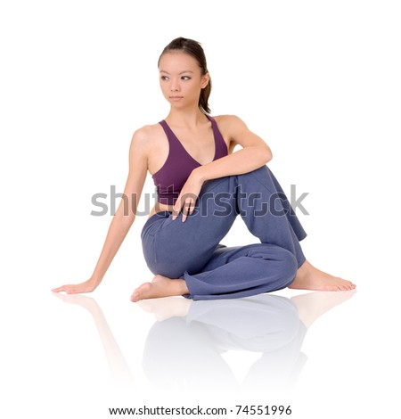 Yoga exercise on ground by Asian girl of fitness, full length portrait isolated on white background.