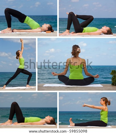 yoga exercises on the beach collage - 6 images