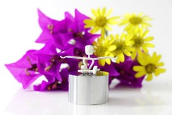 Yoga Figurine with colourful flowers
