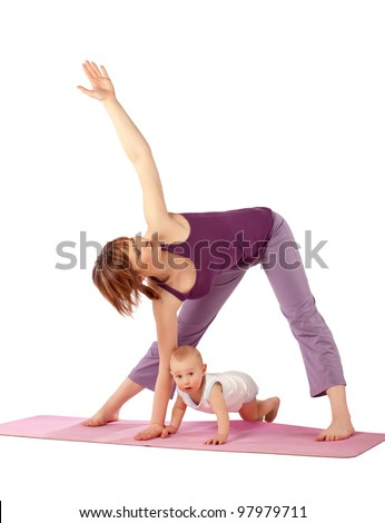 Yoga for woman and child / Mother with her baby doing Yoga exercise