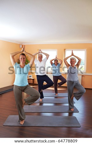 Yoga group in a gym doing Vrikshasana exercise (The Tree)