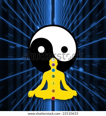 yoga lotus position with chakra and yin yang symbol on a