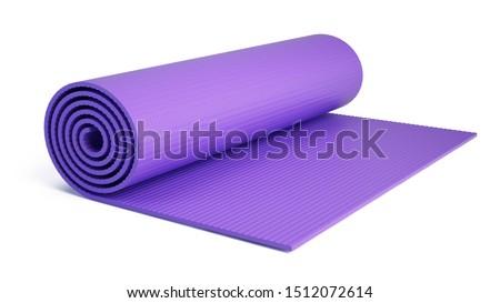 Yoga mat for fitness exercise isolated on white background. Fitness mat - 3d rendering. ストックフォト ©