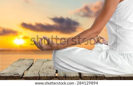 Yoga, Meditating, Beach.