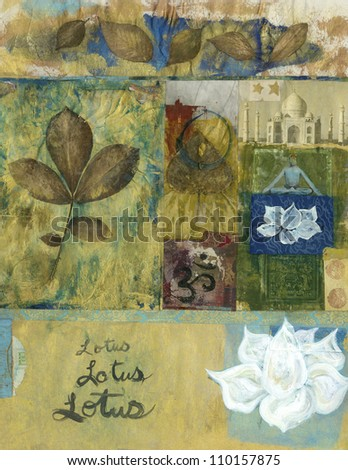 Yoga mixed media art collage with leaves and lotus blossoms and the Taj Mahal.