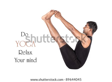 Yoga naukasana boat pose by Indian man in black cloth isolated at white background. Free space for text and can be used as template for web-site